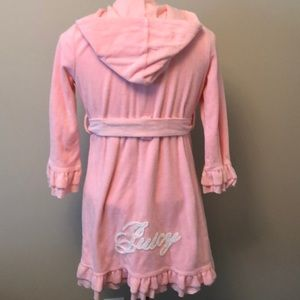 Juicy Couture pink terry cloth robe w/ruffled hem
